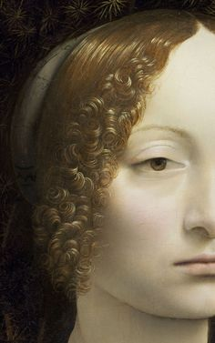 Ginevra de' Benci, 1474 by Leonardo da Vinci (detail).  adreciclarte