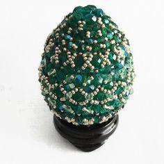 Beaded Egg, Green Beaded Egg, Emerald Beaded Egg, Egg, Easter Egg, Green Easter Egg, Green Egg, Emerald Easter Egg, Emerald Egg