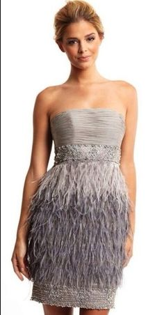 SUE Wong Deco Ombre Platinum Strapless Beaded Feather Cocktail Evening Dress 4 | eBay