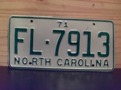 1971+North+Carolina+Rat+Rod+License+Plate+Tag+NC+#FL-7913+YOM