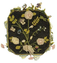 A FINE NEEDLE WORK RETICULE   c.1820-1835 black silk net with bunches of pastel flowers and leaves 6 X 6.5 inches Christies