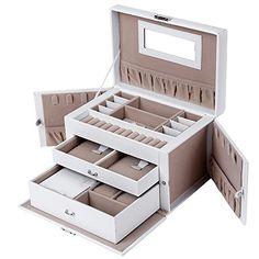 Songmics JBC121W - Caja de almacenamiento para la joyería, 26 x 18 x 17 cm, color blanco y marrón