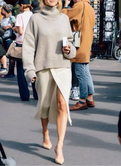 beige fine knit chunky turtleneck jumper, cream wrap chiffon midi skirt, heels - chic