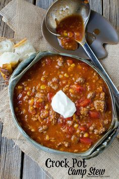 This crock pot camp stew recipe is the perfect comfort food for family dinners! Thick and hearty made with ground beef! The perfect slow cooker meal that is quick and easy to make!