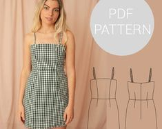 Womens halter neck bralet style cropped-top with tie back Crop Top Pattern, Simple Dress Pattern, Summer Dress Patterns, Pattern Dress, Crop Top Styles, Skirt Patterns Sewing, Clothing Patterns, Pdf Patterns, Shirt Patterns For Women