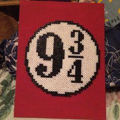 Platform 9 and 3/4 - Harry Potter perler beads by jenniilai - Pattern: https://www.pinterest.com/pin/374291419009376220/