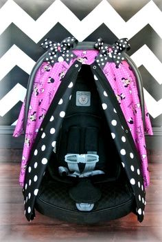 MINNIE MOUSE carseat canopy car seat cover by JaydenandOlivia