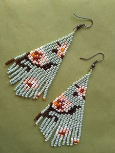 Simple and beautiful hand beaded earrings. Earrings are made of czech beads. Item will be shipped in 3-5 days after the purchace with Registered Priority Mail Worldwide. ----------------- Custom orders are welcome - other colors, forms, patterns etc. Feel free to contact me