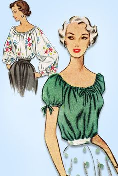 "McCall Pattern 8134 Misses' Peasant Blouse Pattern Dated 1950 Factory Folded and Unused Very Nice Condition Size 14 (32"" Bust) We Sell the Best Original Vintage Sewing Patterns and Embroidery Transfer"