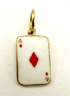 3045bee6f19 1956 Vintage 9ct Gold   Enamel ACE Of DIAMONDS Charm Charm Jewelry