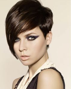 long bang, short tapered side. undercut. This is pretty much my cut right now, with a less severe point on the bang.