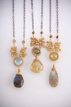 Two Tone Sundrop Peg Necklace by augustninedesigns on Etsy, $180.00