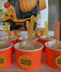 What a great idea for a kids CONSTRUCTION PARTY! Just use choc chip icecream for the concrete mix! More party ideas: http://www.under5s.co.nz/shop/Hot+Topics/Activities/Birthday+Parties.html