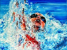 Shop online for canvas art prints of THE DREAM BECOMES REALITY original oil painting of a female Olympic swimmer by sports artist Hanne Lore Koehler. Sports Painting, Action Painting, Original Paintings, Watercolor Paintings, Art Paintings, Swimming Photography, Underwater Painting, Sports Art, Illustrations