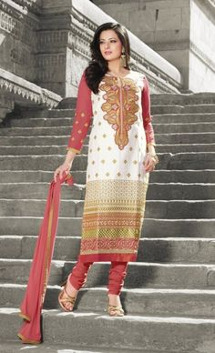 Deep Peach & #White #Cotton #Salwar #Kameez With A #Chiffon Dupatta #EID #EIDcollection @mokshafashions