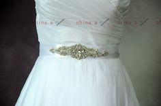 Bridal Sash BeltBeading Diamond Belt Satin Sash by Marrymanor