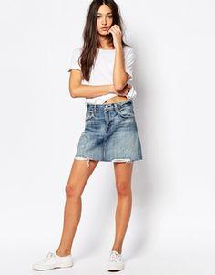 Levi's Denim Mini Skirt With Distressing