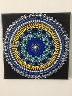 Mandala A011 8X8 Hand Painted Mandala Canvas Dot Art