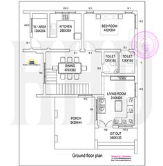 1850 square feet, 3 bedroom modern house with blue print by illustrators, Kerala Duplex House Plans, My House Plans, Luxury House Plans, Cottage House Plans, Small House Plans, House Floor Plans, Home Design Floor Plans, Bedroom Floor Plans, Plan Design