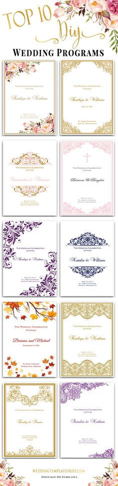 Wedding Programs DIY, Top 10 Printable Ceremony Templates, You Edit & Print.