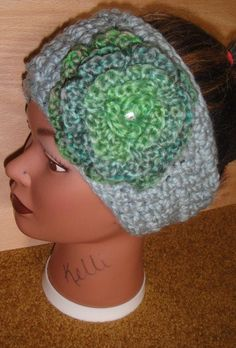bluegray headband with bluegreen accent flower and by adamkhloe, $15.00
