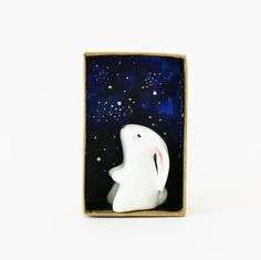 SALE Animal miniature - Bunny on a starry night pocket box - Paper clay sculpture