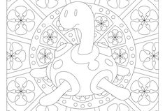 Free printable Pokemon coloring page-Shuckle. Visit our page for more coloring! Coloring fun for all ages, adults and children Abstract Coloring Pages, Flower Coloring Pages, Coloring Book Pages, Printable Coloring Pages, Pokemon Coloring Sheets, Papercraft Pokemon, Doodle Pages, Doodle Art, Pokemon Cross Stitch