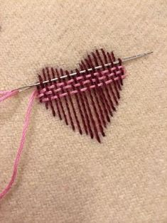 Surface darning - nice illustration. I might switch to a blunt tapestry needle for the back-and-forth weaving, after laying down the weft with a pointed needle. Way to make your clothes unique.
