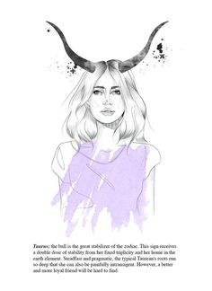 Taurus astrology illustration // portrait // fashion by tigermlk