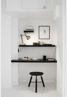 black and white home office, nook, shelves Office Nook, Study Office, Desk Nook, Office Spaces, Closet Office, Corner Office, Closet Nook, Closet Shelves, Workspace Inspiration