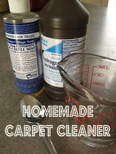 Mix one part castille soap with two parts peroxide in the mixing container. Either pour it onto the carpet stain or put the mixture into a spray bottle.