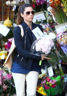 Jessica Biel with lovely peonies in West Hollywood.