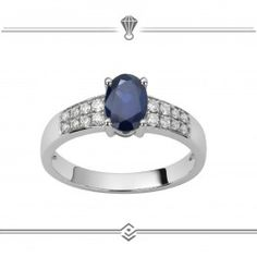 Bague de fiançailles diamants et saphirs