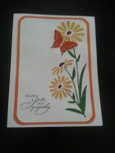 Sympathy card using large daisy embossing folder