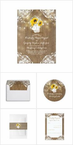 Rustic Sunflowers & Lace WEDDING SET Mason Jar Country Chic Baby's Breath & Sunflowers Barn Wood  Wedding Invites Announcements Invitations Address Labels Stickers Envelopes Save The Date RSVP Thank You Cards & More! #sunflowerwedding
