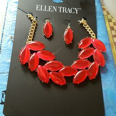 HP..Ellen Tracy statement necklace and earrings Brand new with extender. Ruby red color. Simply fabulous! Ellen Tracy Jewelry Earrings
