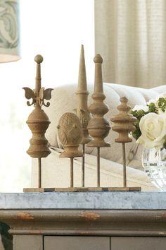 Marquette Table Finials, Set Of 5 - Petite Finials, Antique Finials, Finial Set | Soft Surroundings