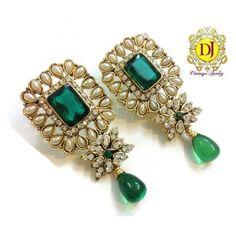 Magenta green Pearl Polki earrings