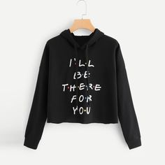 To find out about the Slogan Graphic Drawstring Hoodie at SHEIN, part of our latest Sweatshirts ready to shop online today! Friends Merchandise, Friend Outfits, Friends Tv Show, Teen Fashion Outfits, Fashion Dresses, Teenager Outfits, Cute Casual Outfits, Cropped Hoodie, Crop Top Hoodie