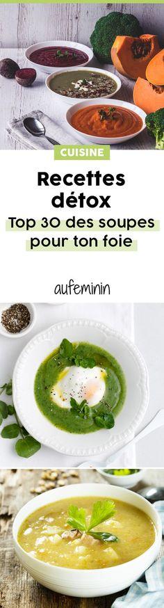 Quelle soupe préparer pour détoxifier son foie ? ces soupes vont favorises la bonne santé du système digestif. Nos meilleures recettes de soupe détox pour votre régime souping. /// #aufeminin #soupe #recette #detox #souping #potage #bouillon #minceur #mangersain #sain #alimentation #fibres #légumes