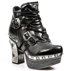 Shoe M.Z010-C1 enkel laars met veters en zilveren hak, plateau- gothic, metal…