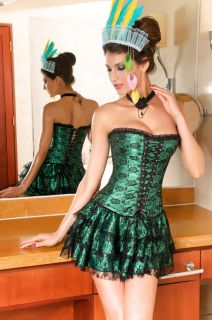 "Lace Overbust Corset: 3pcs  strapless corset is with lace-up front, side  zipper closure, lace-up  back, matching ruffle skirt and thong.  Beautiful black cross ribbon 14  1/2"" corset with criss cross ribbon  decoration. 100% Fine cotton twill  Lining. Stainless Steel Busk  Closure. Features Modesty Panel. This  gorgeous classic green corset is  one of our longest & most popular  corsets. Material: Acrylic +  Lace."