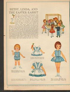 """Betsy McCall """"Easter Rabbit"""" 1963 Paper Dolls"""