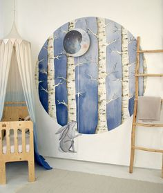 White Forest Wallpaper circle, Happy Hare wall sticker and Sweet Dreams walllamp, all part of the new Hartendief 2017 collection. #hartendief #walllamp #nurserydecor #barnerom #nurseryinso #wallpaper #walllamp #childrensroom #kidsroom #kidsroomdecor #pinteresthit