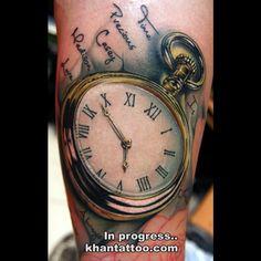 KHAN TATTOO (Gold Coast Australia) pocket watch tattoo
