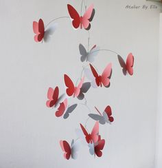 3D butterfly mobile, Hanging mobile in coral pink and grey , Home decor, Nursery ceiling decoration by AtelierByElla on Etsy