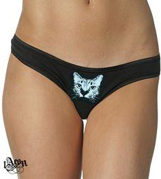15273cef7f25 cat panties, March madness, size XL, cat panty, bikini cat, cat underwear,  black knickers, 1AEON cotton/spandex low rise thong w Cat print
