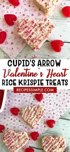 Cupid's Arrow Valentine's Heart Rice Krispie Treats #valentinesday #ricekrispies #desserts via @judyjwilson
