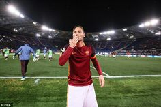 Francesco Totti blows a kiss to fans after firing Roma in front with a minute to play in their 3-2 win over Torino