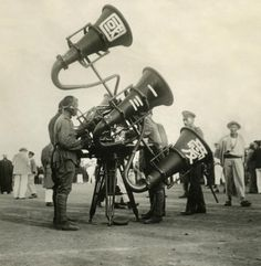 Japanese soldiers with the large listening equipment to detect an enemy aircraft, 1932